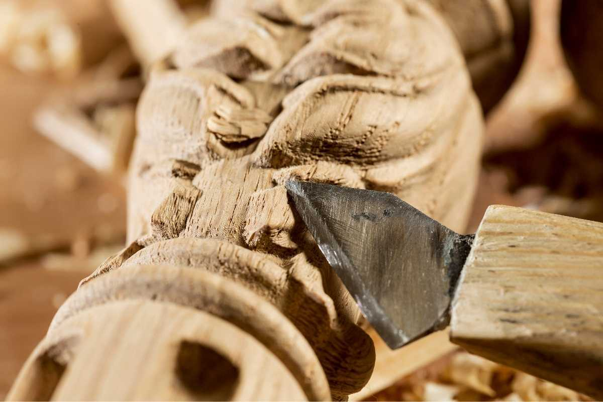 carving into wood